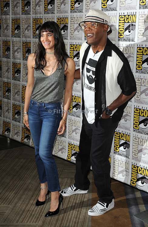 Sofia Boutella and Samuel L. Jackson arriving at the Kingsman Secret Service Panel at Comic-Con 2014  at the Hilton Bayfront Hotel in San Diego, Ca. July 25, 2014.