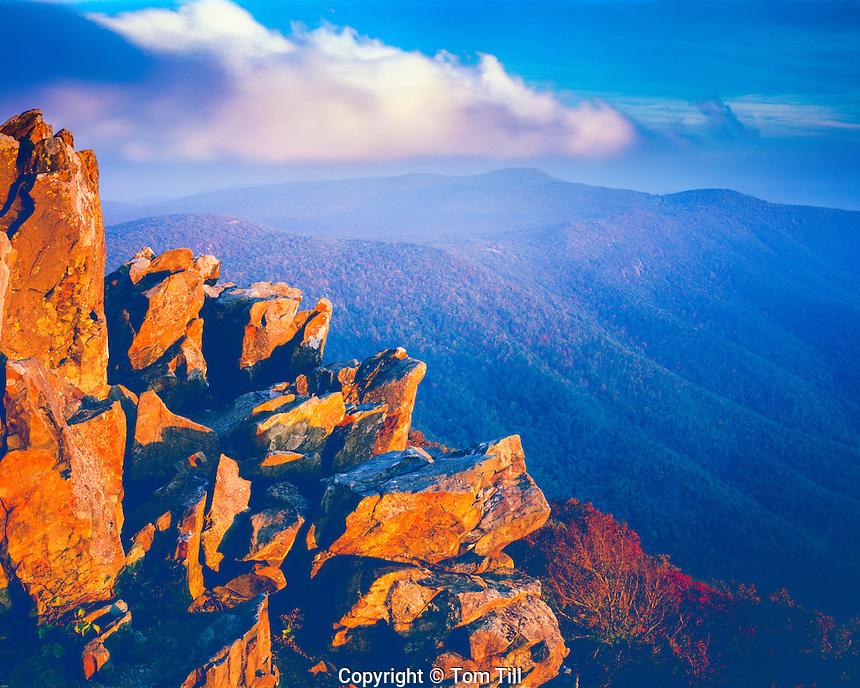 Summit Rocks, Shenandoah national Park, Virginia, Appalachian Mountains, top of Hawksbill Mountain, highest point in park, October