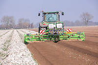 AVR rotary cultivator cultivating beds for potatoes - Lincolnshire, March