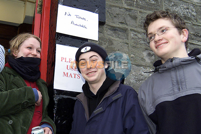 Ailish Walsh, Thomas Tuite and Mark Carroll from Drogheda, who turned up at the Conyngham Arms in Slane only to find out that all tickets for Slane Concert had been sold out..Picture: Paul Mohan/Newsfile..