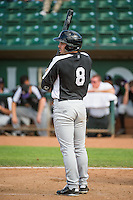 Bobby Stahel (8) of the Grand Junction Rockies at bat against the Ogden Raptors in Pioneer League action at Lindquist Field on July 5, 2015 in Ogden, Utah. Ogden defeated Grand Junction 12-2.  (Stephen Smith/Four Seam Images)