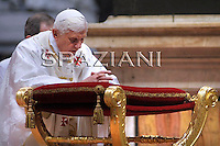 Pope Benedict XVI attends the ordination ceremony of five new bishops at St Peter's Basilica at the Vatican on September 12, 2009