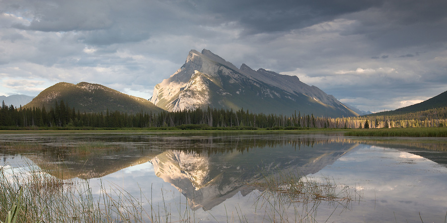 Mount Rundle Reflection in Vermilion Lakes - Banff, Alberta, Canada.