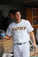 Trenton Thunder catcher Gary Sanchez (35) during the game against the Harrisburg Senators at ARM & HAMMER Park on May 21, 2014 in Trenton, New Jersey.  Harrisburg defeated Trenton 9-0.  (Tomasso DeRosa/Four Seam Images)