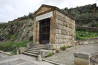 Roman temple located at the extreme of the Alcántara Roman bridge, built at the beginning of the 1st century AD by Cayo Julio Lacer, Alcántara, Extremadura, Spain