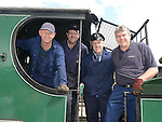 Drivers Robbie Jolly, Ken Fox and Paul O'Brien and Inspector Lar Griffin aboard the steam train to Skerries. Photo:Colin Bell/pressphotos.ie