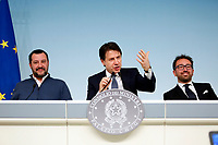 Matteo Salvini, Giuseppe Conte e Alfonso Bonafede<br /> Rome January 14th 2019. Press conference of the Minister of the Internal Affairs, of the Premier and of the Minister of Justice.<br /> Foto Samantha Zucchi Insidefoto