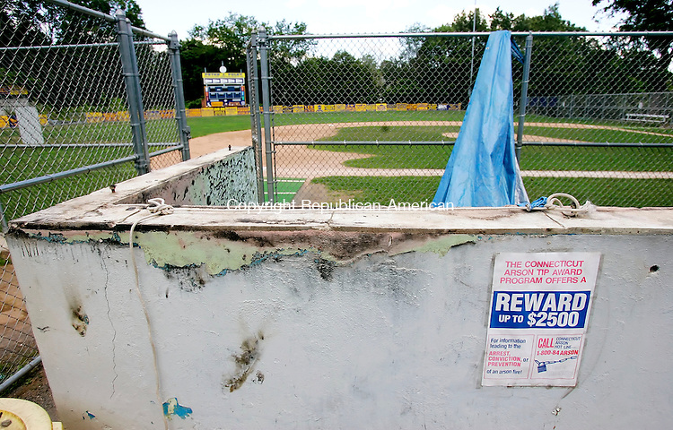 NAUGATUCK, CT. 08 August 2006--080806SV01--The dugout at Peter J. Foley field caught on fire about two weeks ago. There is a sign with a number to call for the arson investigation 1-800-84ARSON.<br /> Steven Valenti Republican-American