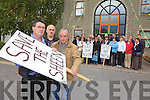 Residents of Bonane protesting at Kerry County Council headquarters on Monday last over the planned abstraction of water from the River Sheen which runs through their parish. Leading the group L-R are Stephen O'Sullivan, Pat O'Sullivan and Patsy O'Sullivan of Bonane Community Council