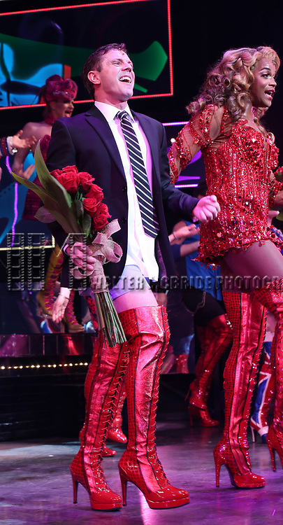 """Broadway Debut Jake Shears with J. Harrison Ghee as during the curtain call bows for """"Kinky Boots"""" at the Al Hirschfeld Theatre on January 8, 2018 in New York City."""