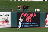 Oregon State Beavers left fielder Preston Jones (33) prepares to catch a fly ball during a game against the New Mexico Lobos on February 15, 2019 at Surprise Stadium in Surprise, Arizona. Oregon State defeated New Mexico 6-5. (Zachary Lucy/Four Seam Images)