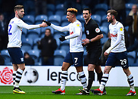 Preston North End's Callum Robinson celebrates scoring his side's second goal <br /> <br /> Photographer Richard Martin-Roberts/CameraSport<br /> <br /> The EFL Sky Bet Championship - Preston North End v Blackburn Rovers - Saturday 24th November 2018 - Deepdale Stadium - Preston<br /> <br /> World Copyright © 2018 CameraSport. All rights reserved. 43 Linden Ave. Countesthorpe. Leicester. England. LE8 5PG - Tel: +44 (0) 116 277 4147 - admin@camerasport.com - www.camerasport.com