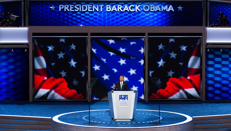 UNITED STATES - JULY 27: President Barack Obama speaks at the Democratic National Convention in Philadelphia on Wednesday, July 27, 2016. (Photo By Bill Clark/CQ Roll Call)