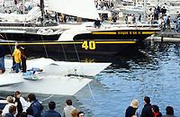 Première Route du Rhum, 1978. Les voiliers à quai au port de Saint-Malo. Disque d'or II, skipper Pierre Fehlmann, contraint à l'abandon.
