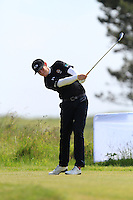 Mathew McClean (Balmoral) on the 1st tee during Round 1 of the Irish Amateur Close Championship at Seapoint Golf Club on Saturday 7th June 2014.<br /> Picture:  Thos Caffrey / www.golffile.ie