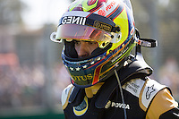 March 15, 2015: Pastor Maldonado (VEN) #13 from the Lotus F1 Team crashes at the 2015 Australian Formula One Grand Prix at Albert Park, Melbourne, Australia. Photo Sydney Low