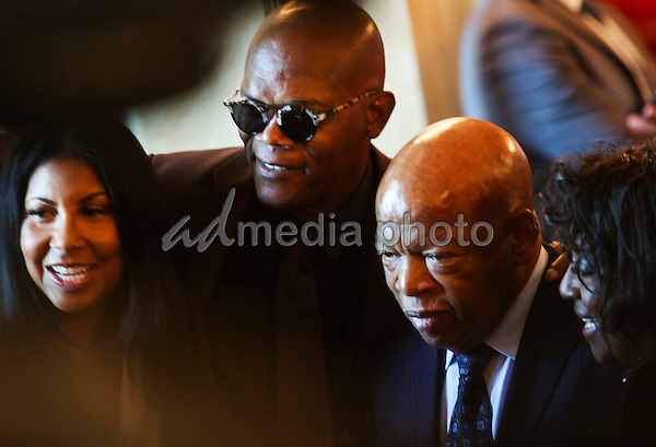 Actor Samuel Jackson poses with Civil Rights pioneer John Lewis (D-GA) during a reception in honor of the opening of the Smithsonian National Museum of African American History and Culture listens, in the Grand Foyer of the White House September 23, 2016, Washington, DC. Photo Credit: Aude Guerrucci/CNP/AdMedia