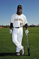 Feb 28, 2010; Bradenton, FL, USA; Pittsburgh Pirates  outfielder Lastings Milldege (85) during  photoday at Pirate City. Mandatory Credit: Tomasso De Rosa/ Four Seam Images