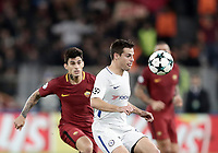 Football Soccer: UEFA Champions League AS Roma vs Chelsea Stadio Olimpico Rome, Italy, October 31, 2017. <br /> Chelsea's Cesar Azpillicueta (r) in a action with Roma's Diego Perotti (l) during the Uefa Champions League football soccer match between AS Roma and Chelsea at Rome's Olympic stadium, October 31, 2017.<br /> UPDATE IMAGES PRESS/Isabella Bonotto