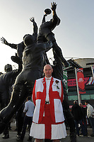 An England stands in front of the Twickenham bronze sculpture ahead of Match 26 of the Rugby World Cup 2015 between England and Australia - 03/10/2015 - Twickenham Stadium, London<br /> Mandatory Credit: Rob Munro/Stewart Communications