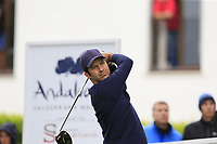 Jorge Campillo (ESP) tees off the 1st tee during Saturday's rain delayed Round 2 of the Andalucia Valderrama Masters 2018 hosted by the Sergio Foundation, held at Real Golf de Valderrama, Sotogrande, San Roque, Spain. 20th October 2018.<br /> Picture: Eoin Clarke | Golffile<br /> <br /> <br /> All photos usage must carry mandatory copyright credit (&copy; Golffile | Eoin Clarke)