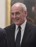 White House Chief of Staff John Kelly prior to the arrival of US President Donald J. Trump who will make remarks at the Congressional Medal of Honor Society Reception in the East Room of the White House in Washington, DC on Wednesday, September 12, 2018.<br /> CAP/MPI/RS<br /> &copy;RS/MPI/Capital Pictures