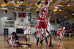 Palos Verdes, CA January 19, 2010 - Kelsey Brockway (23) scores easily as Shelby Tsukamoto (11) fell to the ground and Lindsey Sugimoto (25) is too late to block the shot.