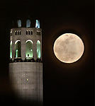 March full moon rising behind Coit Tower.
