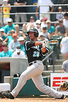 The Coastal Carolina University Chanticleers right fielder Daniel Bowman #26 at bat during the 2nd and deciding game of the NCAA Super Regional vs. the University of South Carolina Gamecocks on June 13, 2010 at BB&T Coastal Field in Myrtle Beach, SC.  The Gamecocks defeated Coastal Carolina 10-9 to advance to the 2010 NCAA College World Series in Omaha, Nebraska. Photo By Robert Gurganus/Four Seam Images