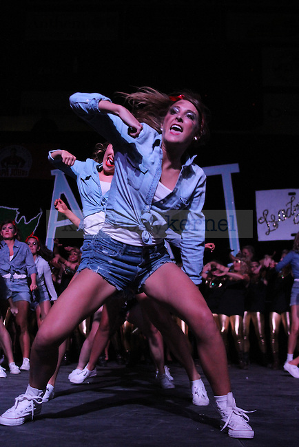 Member of Alpha Delta Pi performs at Greek Sing 2015 at Memorial Coliseum Saturday, March 7, 2015 in Lexington. Photo by Joel Repoley   Staff
