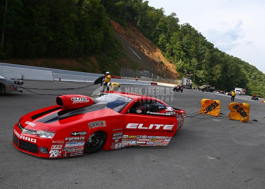 Jun 21, 2015; Bristol, TN, USA; NHRA pro stock driver Erica Enders-Stevens after winning the Thunder Valley Nationals at Bristol Dragway. Mandatory Credit: Mark J. Rebilas-