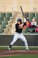 Mason Robbins (10) of the Kannapolis Intimidators at bat against the Greenville Drive at CMC-Northeast Stadium on April 28, 2015 in Kannapolis, North Carolina.  The Intimidators defeated the drive 3-2.  (Brian Westerholt/Four Seam Images)