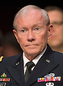"""The Chairman of the Joint Chiefs of Staff General Martin E. Dempsey, United States Army,  appears before the U.S. Senate Foreign Relations Committee to testify on """"Authorization of Use of Force in Syria""""  on Capitol Hill in Washington, D.C. on Tuesday, September 3, 2013.<br /> Credit: Ron Sachs / CNP"""