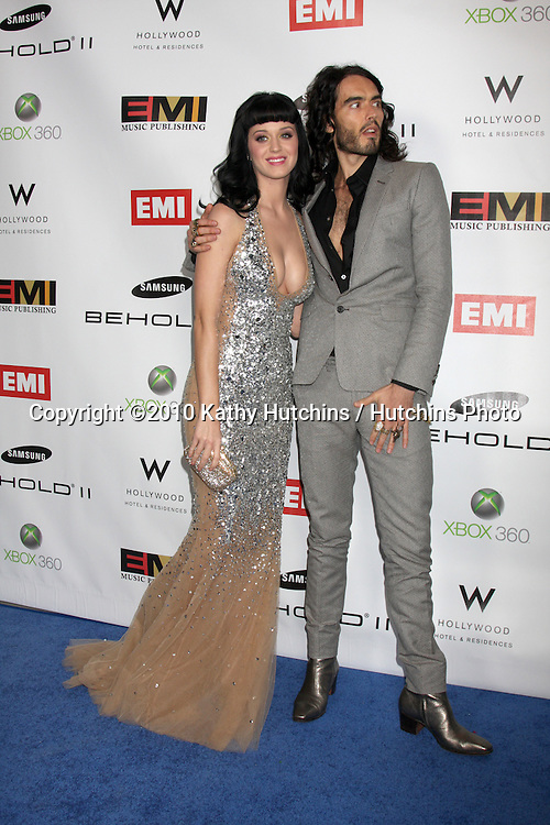 Katy Perry & Russell Brand.arriving at the EMI Post Grammy Party 2010.W Hotel Hollwood.Los Angeles, CA.January 31, 2010.©2010 Kathy Hutchins / Hutchins Photo....