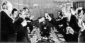 United States President Gerald R. Ford, right, and the Union of Soviet Socialist Republics (U.S.S.R.) General Secretary Leonid Brezhnev, left, share a toast at their final dinner in Vladivostok, U.S.S.R. on November 24, 1974.  They were meeting to discuss progress in the Strategic Arms Limitation Talks (S.A.L.T.).<br /> Mandatory Credit: David Hume Kennerly / White House via CNP