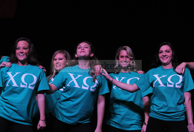 Members from Chi Omega perform at Greek Sing 2015 at Memorial Coliseum Saturday, March 7, 2015 in Lexington. Photo by Joel Repoley | Staff