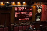 Tabellone<br /> Roma 23-04-2014 Camera. Voto di fiducia sul Decreto DL Lavoro.<br /> Trust vote on job laws<br /> Photo Samantha Zucchi Insidefoto