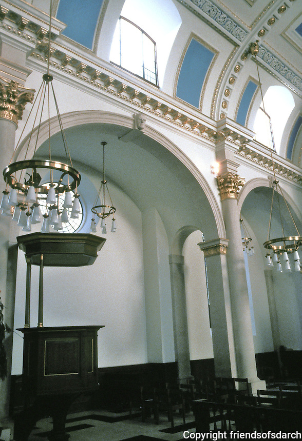 Sir Christopher Wren: St. Mary-Le-Bow, 1670-83. Interior detail. London. Photo '90.