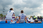 Krefeld, Germany, May 19: During the Final4 Gold Medal fieldhockey match between Uhlenhorst Muelheim and Mannheimer HC on May 19, 2019 at Gerd-Wellen Hockeyanlage in Krefeld, Germany. (worldsportpics Copyright Dirk Markgraf) *** Luis Holste #9 of Mannheimer HC, Timm Haase #27 of Mannheimer HC, Guido Barreiros #26 of Mannheimer HC