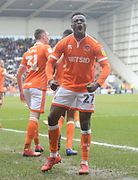 Blackpool's Marc Bola celebrates his side's second goal, scored by Curtis Tilt (obscured)<br /> <br /> Photographer Kevin Barnes/CameraSport<br /> <br /> The EFL Sky Bet League One - Blackpool v Plymouth Argyle - Saturday 30th March 2019 - Bloomfield Road - Blackpool<br /> <br /> World Copyright © 2019 CameraSport. All rights reserved. 43 Linden Ave. Countesthorpe. Leicester. England. LE8 5PG - Tel: +44 (0) 116 277 4147 - admin@camerasport.com - www.camerasport.com