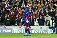 27th November 2019; Camp Nou, Barcelona, Catalonia, Spain; UEFA Champions League Football, Barcelona versus Borussia Dortmund; Griezmann celebration after scoring in the 67th minute for 3-0 with Leo Messi - Editorial Use
