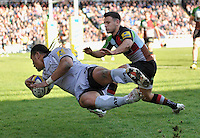Twickenham, England. Alesana Tuilagi of Leicester Tigersdives in for a try during the Aviva Premiership game between Harlequins and Leicester Tigers at Twickenham Stoop, London, England. 21 April 2012.
