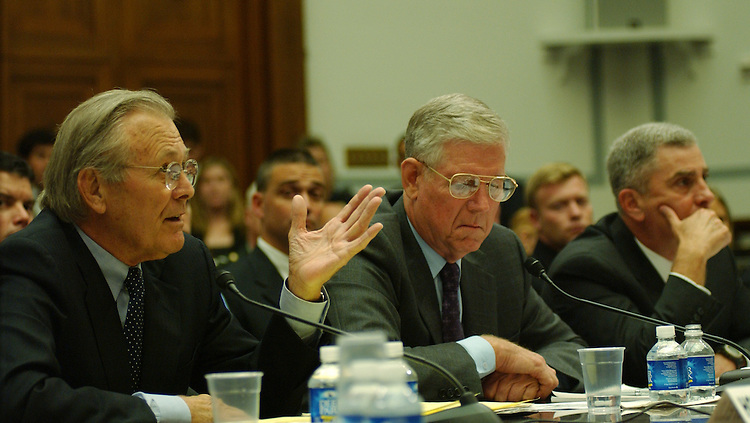 "WASHINGTON - August 1: Donald H. Rumsfeld, Retired Gen. Richard B. Myers, and Retired Gen. John P. Abizaid during the House Oversight and Government Reform Committee oversight hearing titled ""The Tillman Fratricide: What the Leadership of the Defense Department Knew."" The hearing is about the alleged Pentagon misinformation about the friendly-fire death in Afghanistan of Tillman, an Army corporal and before that a star NFL safety. (Photo by Dana Statton/Congressional Quarterly).."