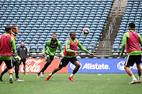 SEATTLE, WA - NOVEMBER 9: Nouhou #5 of the Seattle Sounders FC plays the ball at CenturyLink Field on November 9, 2019 in Seattle, Washington.