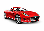 Red 2014 Jaguar F-Type S luxury sports car isolated on white background with clipping path