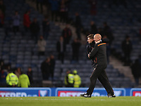 3rd November 2019; Hampden Park, Glasgow, Scotland; Scottish League Cup Football, Rangers versus Heart of Midlothian; Rangers Manager Steven Gerrard and assistant manager celebrate after the final whistle - Editorial Use