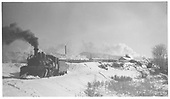 Pilot-end fireman's-side view of D&amp;RGW #464 on the RGS track just below the D&amp;RGW Durango yards working light in fresh snow.<br /> RGS  Durango, CO  Taken by Maxwell, John W. - 12/11/1951