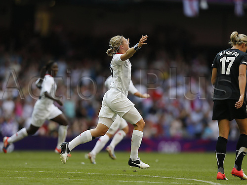 25.07.2012. Cardiff, Wales.  Ellen Front of Great Britain Celebrates Scoring during The Preliminary Round Group E Match of Womens Football between Great Britain and New Zealand in Cardiff Wales. Great Britain Won The Match 1 0
