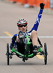 May 1, 2012:  Air Force Wounded Warrior, Mike Sanders, celebrates his Silver Medal in the recumbent event during the Warrior Games cycling competition at the United States Air Force Academy, Colorado Springs, CO.