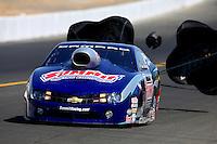 Jul. 27, 2013; Sonoma, CA, USA: NHRA pro stock driver Jason Line during qualifying for the Sonoma Nationals at Sonoma Raceway. Mandatory Credit: Mark J. Rebilas-
